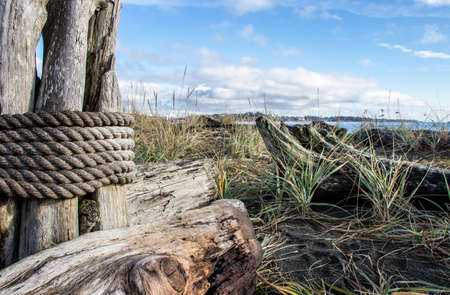 wooden post wrapped in nautical rope on a beach in Victoria, British Columbia, Canada