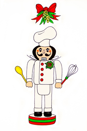 A nutcracker chef, holding a wooden spoon and a whisk, stands under a mistletoe garland
