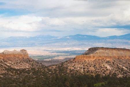 new mexico: Clouds form patterned layers above plateaus near Los Alamos, New Mexico