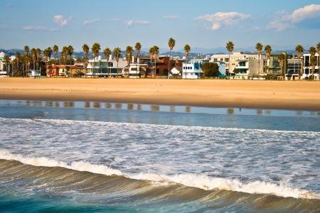 Buildings and palm trees fill the shore line at Venice Beach, CA. Imagens