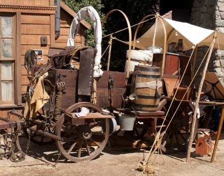 A fully dressed-out chuck wagon sits on Main street.