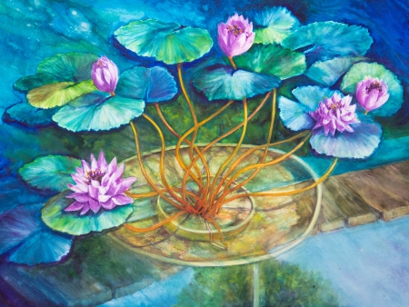 An acrylic painting of Monets water lily pond at Giverny is finished in blues and greens.