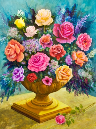 Pink, yellow, red, peach and lavender roses form a bouquet in a footed, golden bowl in an acrylic painting  Stock Photo
