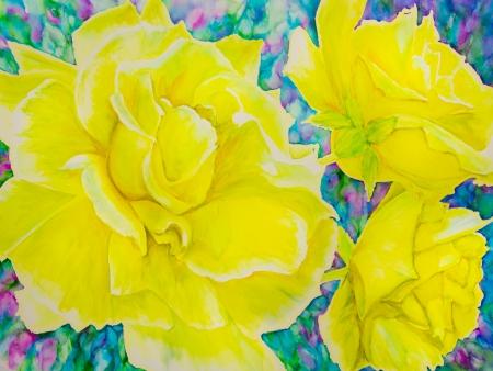 黄色いばらは青、緑およびマゼンタ水彩画の絵画の背景