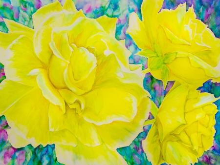 Yellow roses are against a background of blues, greens and magenta in a watercolor  painting