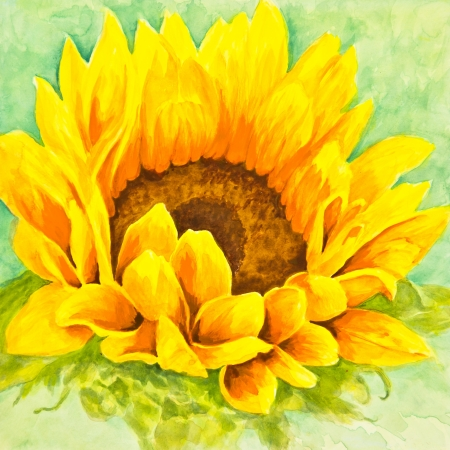 A bright yellow and orange sunflower boasts a center of luscious seeds  in a watercolor painting