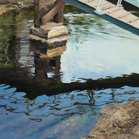 gleams: The underwater shore gleams under dark, rippled reflections of the bridge overhead in a canal in Venice, CA, in an acrylic painting  Stock Photo