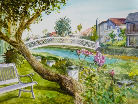 Pink roses bloom alongside a bench by a canal in Venice, CA, in a watercolor painting