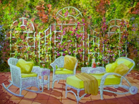 An inviting grouping of white wicker furniture is on a patio with a white trellis in a acrylic painting Stock Photo - 20081859