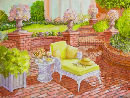 A white wicker lounge chair, holding a straw hat and a book, is on a brick patio in an acrylic painting