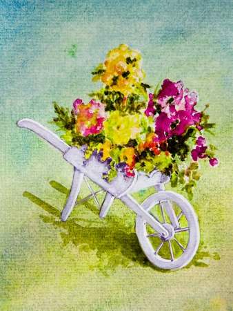 A white wheelbarrow holds pink, peach, yellow and red flowers  in an acrylic painting