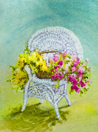 Yellow and Pink Flowers fill a Basket on a White Wicker Chair  in an acrylic painting  Imagens