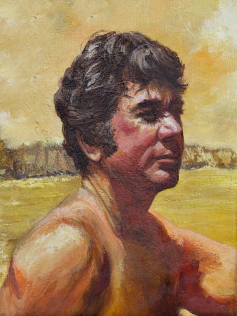 A handsome man sits gazing into the distance in an acrylic painting.