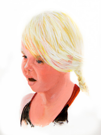 A little blond girl has a surprised look on her face in an acrylic painting. Imagens