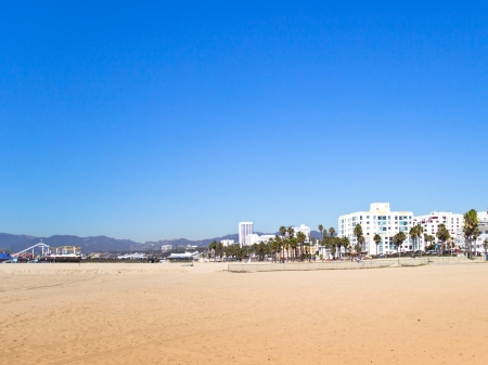 Hotels on the sandy beach at Santa Monica Beach, California, are near the famous Santa Monica Pier Stock Photo - 23044333