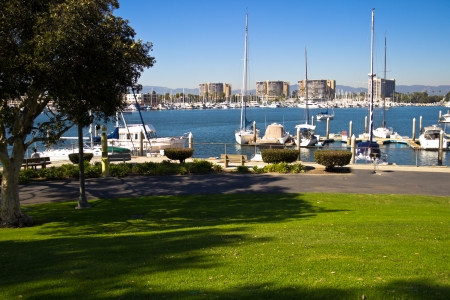 Shaded benches provide a view of the marina at Marina Del Rey, California