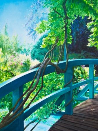 monet: En el puente japon�s en Giverny, Claude Monet Foto de archivo
