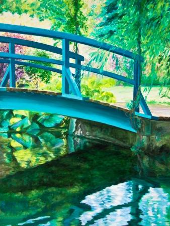 japanese bridge: The Japanese bridge at Giverny, Claude Monet Stock Photo