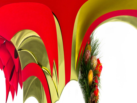 Festive gold and red abstract patterns suggest holiday decorations.