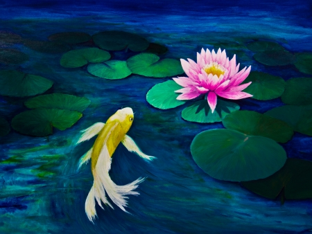 A yellow butterfly Koi swims towards a pink water lily. Stock Photo