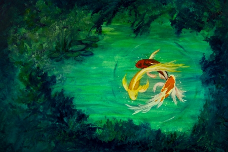 koi: Three brightly colored butterfly koi circle eachother in a water lily pond.