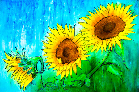 A painting of two fully opened sunflowers and a sunflower bud has a background of blue-greens