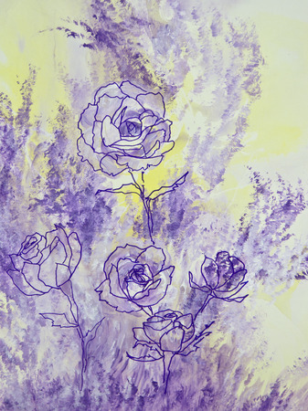 Purple line drawings of lavender roses are set against a background of pale yellow and lavender