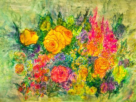 花のカラフルな品揃えの絵は庭の設定を示しています