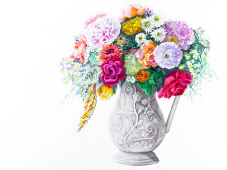 A bouquet of brightly colored, mixed flowers is in a white ceramic, figured pitcher on a white background  Фото со стока