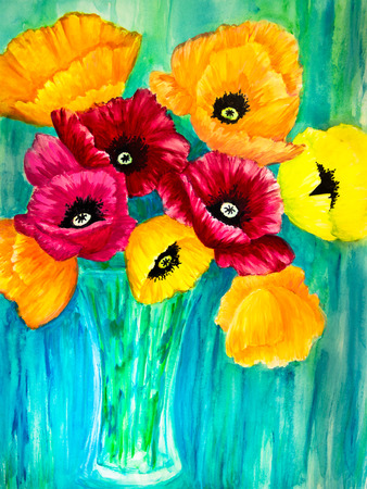 A bouquet of red, orange and yellow poppies is in a glass vase against a blue-green background. photo