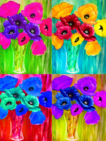 Four acrylic paintings of poppies in various colors are arranged in a quadruple. photo