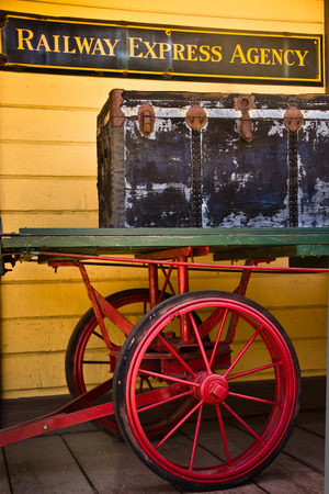 An old railway express trunk sits on an antique cart in Saugus, California.
