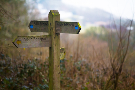 lake district england: footpath sign pointing in four directions,