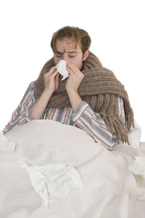 Ill Man With Flu In Bed Stock Photo