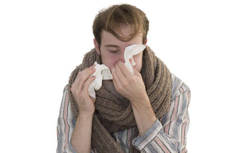 Ill Man Wipes his Nose Stock Photo