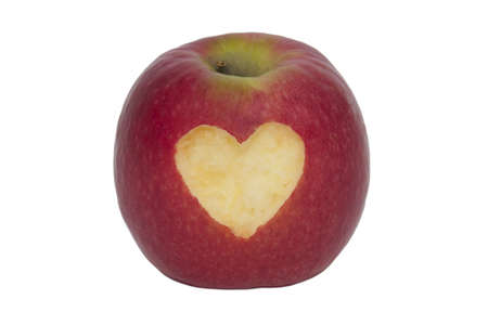 Fruity apple with heart - isolated Stock Photo