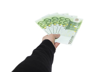 Payment With One Hundred European Bank Notes - isolated
