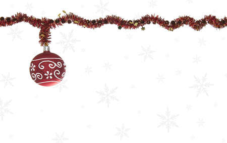 Red Christmas Glitter Ball On White Background With Snowflakes