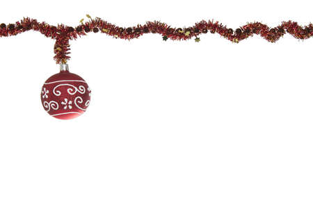 Red Christmas Glitter Ball Decoration Isolated