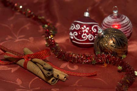 Christmas Decoration With Cinnamon Sticks An Glitter Balls
