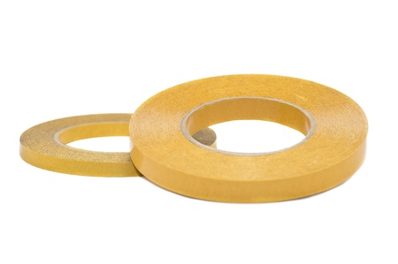 Yellow Double Sided Tape Isolated On White