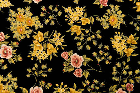Fabric With Flowers And Black Background