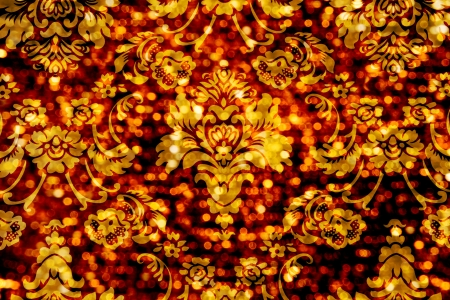 Floral Ornament Bokeh Background Golden Red Stock Photo
