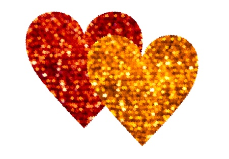 Two Love Hearts Red And Golden Isolated On White
