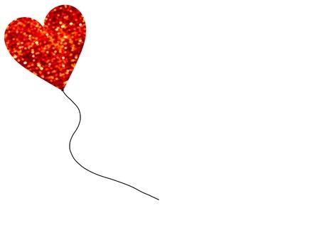 Red Bokeh Balllon Heart On White Background Stock Photo