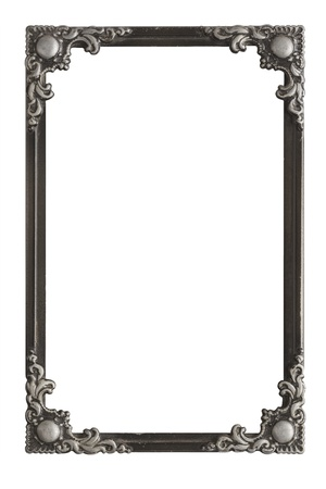oblong: Old Antique Frame Floral Ornament Isolated On White