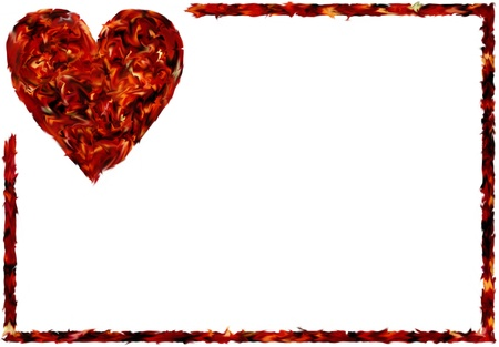Abstract Heart On White With Frame Stock Photo