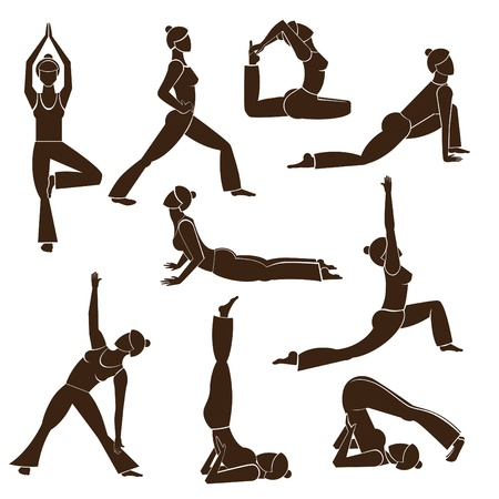 Set of yoga poses