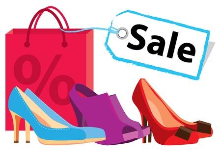 shoe sale: Zapatos en venta Vectores
