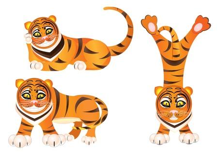 Funny tiger in different moods Illustration